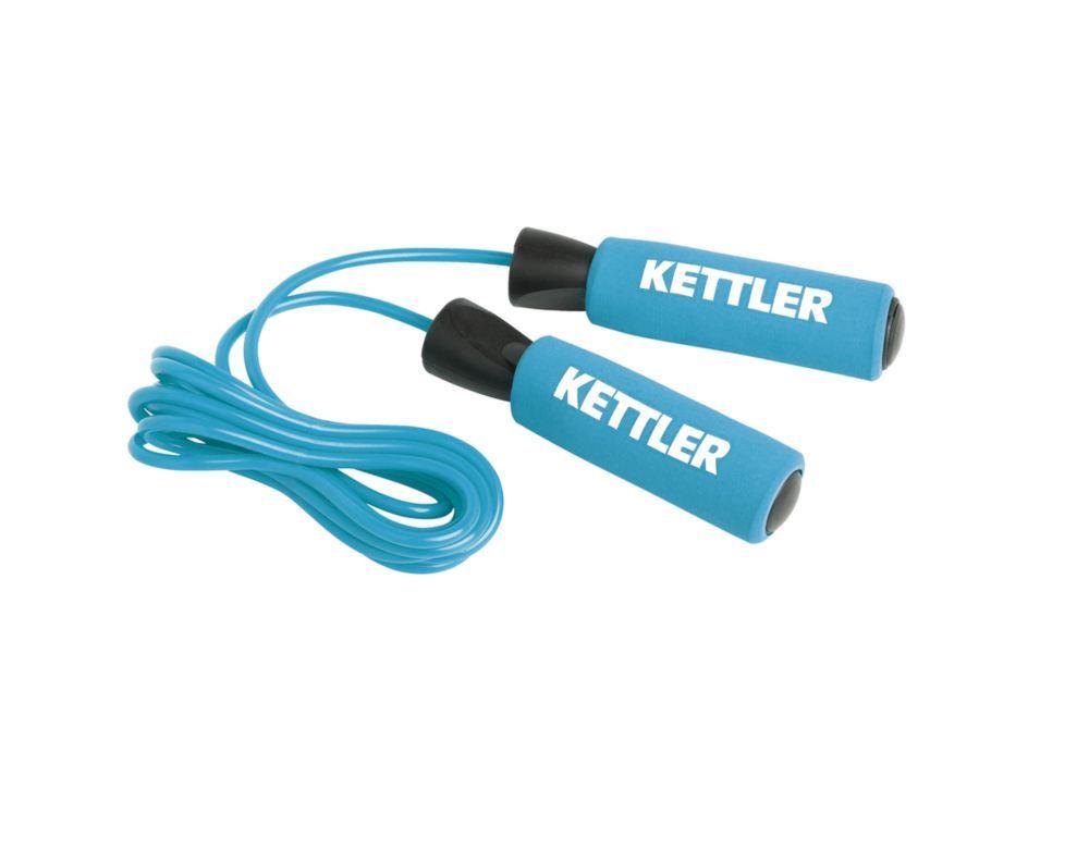 Coarda rapida pentru sarituri Kettler cu manere din cauciuc moale. Albastra