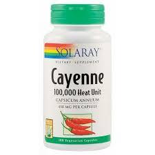 Cayenne ardei iute, 450mg, 100 capsule, Solaray