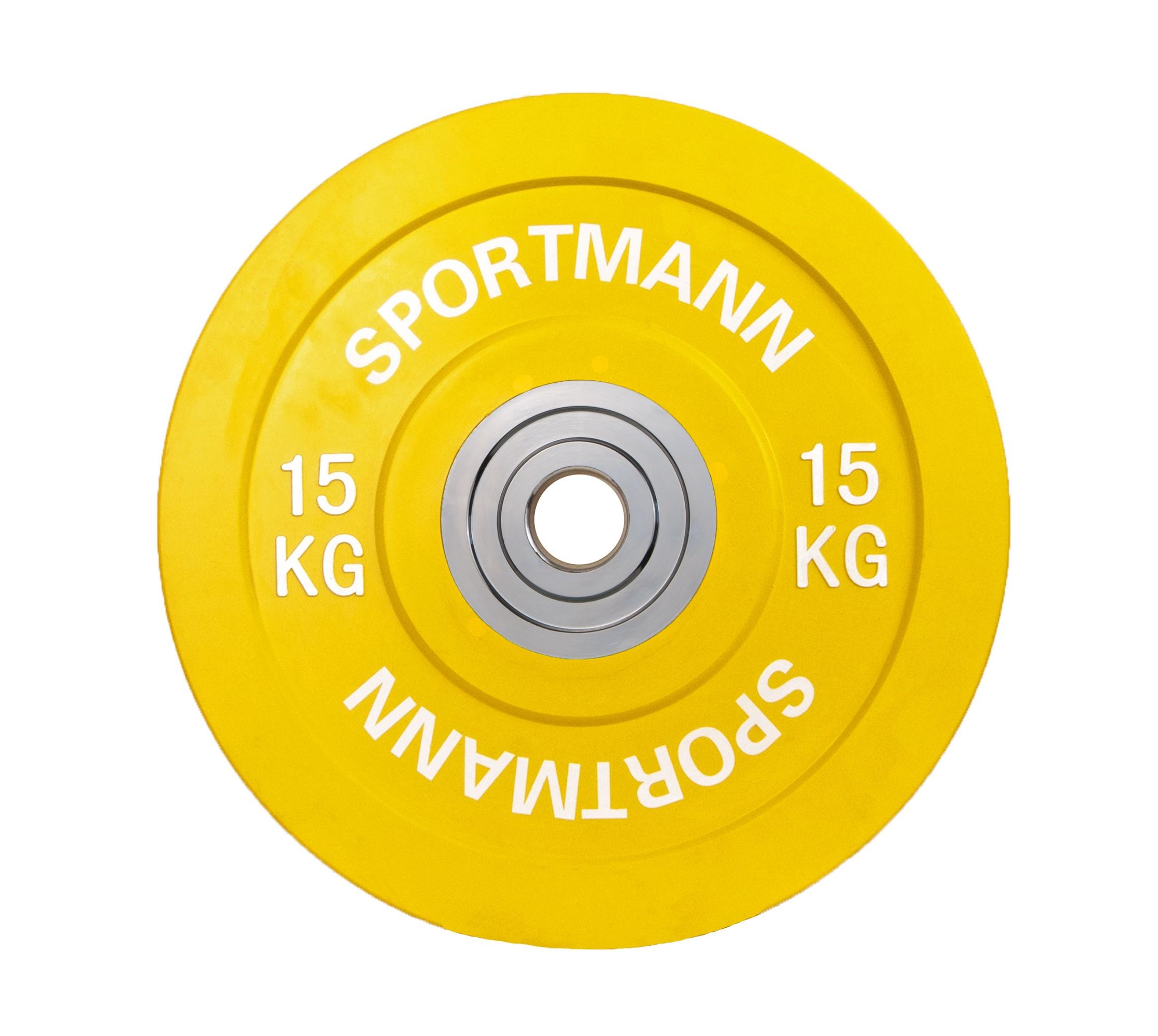 Disc cauciucat 15kg, diametru 51mm, galben, Bumper Plate