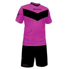 Echipament fotbal, sort si tricou, roz, Vittoria, Givova