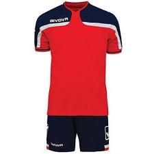 Echipament fotbal, tricou si sort, rosu-bleumarin, America, Givova