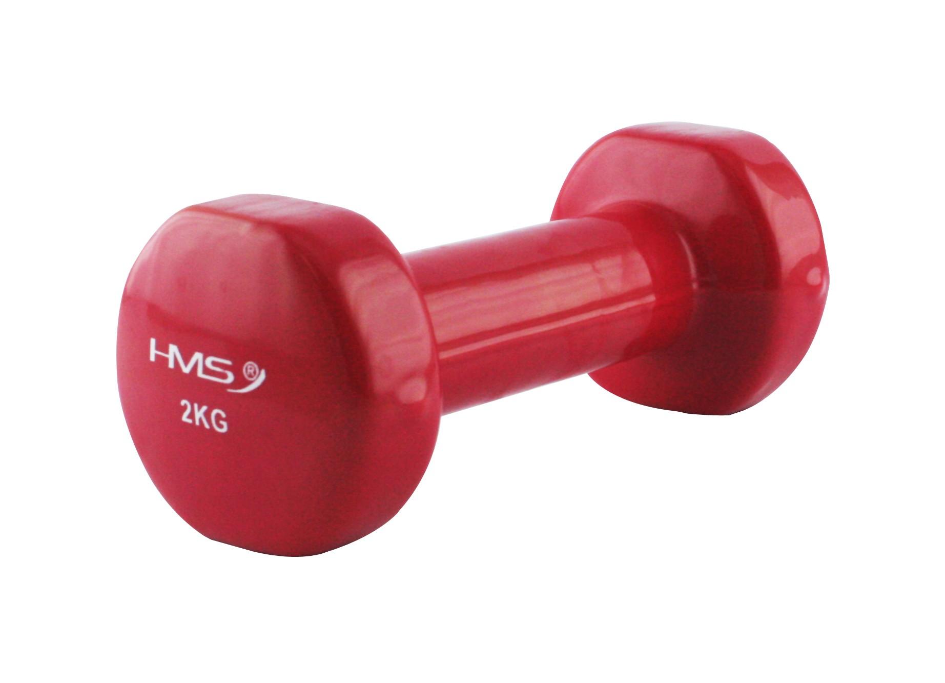 Gantera fitness 2kg, vinil, rosu