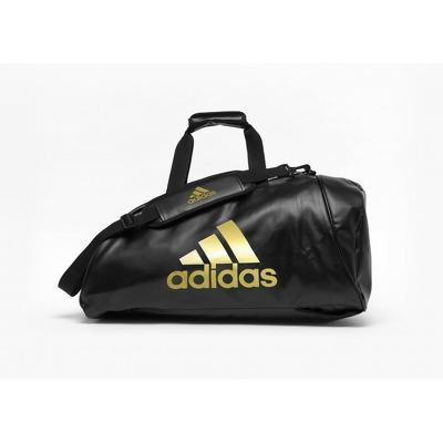 Geanta echipament sportiv, 2in1, negru-auriu, marime L, piele ecologica