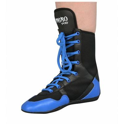 Ghete box si kickbox din piele naturala, albastru-negru