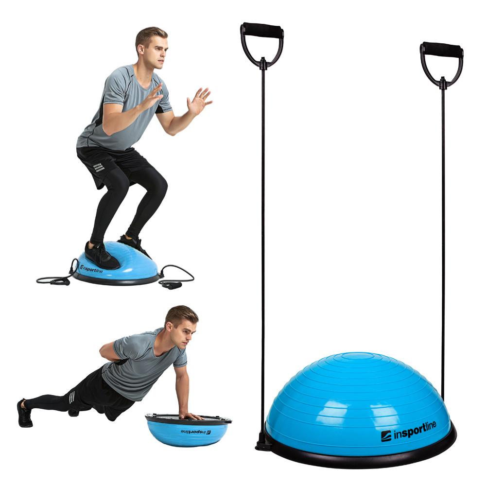 Minge exercitii echilibru cu corzi, tip BOSU, Dome UNI, albastru