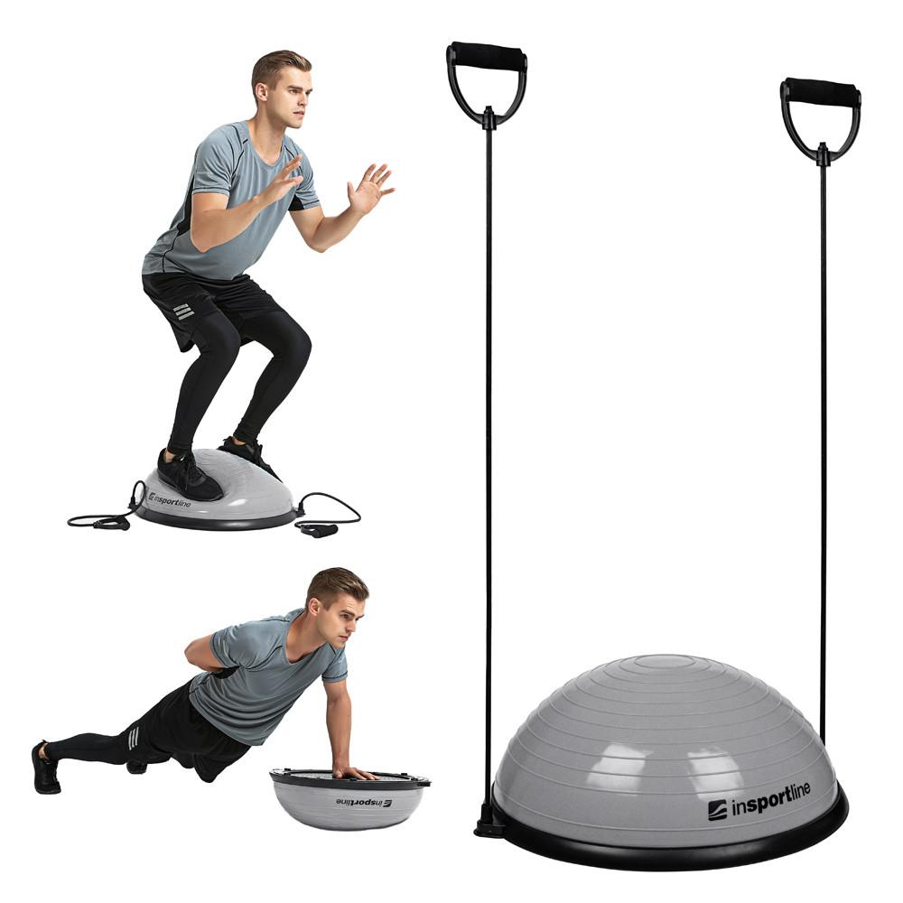 Minge exercitii echilibru cu corzi, tip BOSU, Dome UNI, gri
