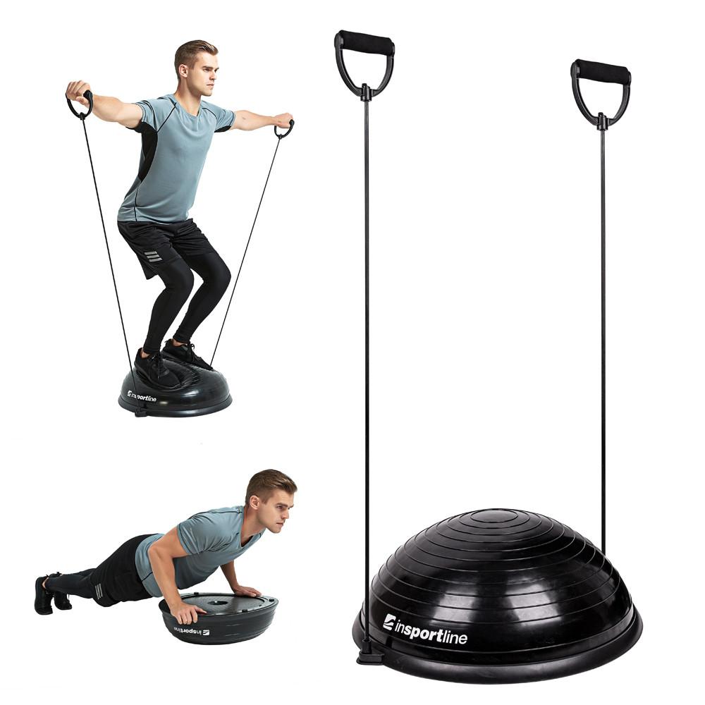 Minge exercitii echilibru cu corzi, tip BOSU, Dome UNI, negru