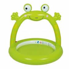 Piscina gonflabila pentru copii, broasca, verde, 130x130x119 cm