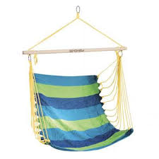 Scaun suspendat tip hamac, 80x100cm, bumbac, verde-albastru, Bench, Spokey