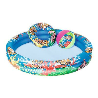 Set piscina gonflabila pentru copii, colac si minge, 122x20cm, Nemo