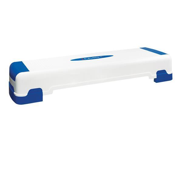 Stepper aerobic reglabil pe 3 nivele, alb-albastru