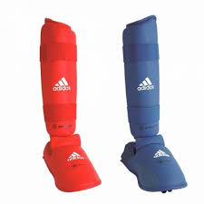 Tibiere cu botosei antrenament karate, rosu, marime L, Adidas