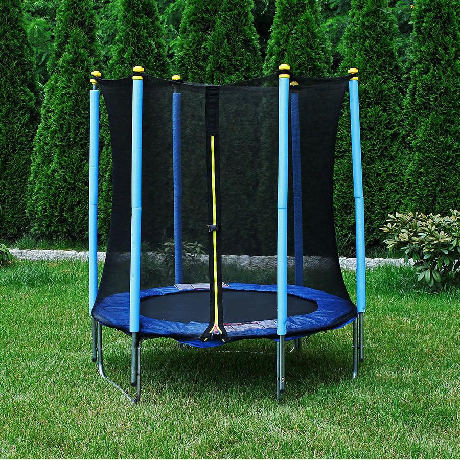 Trambulina si plasa de siguranta, 140 cm, albastru