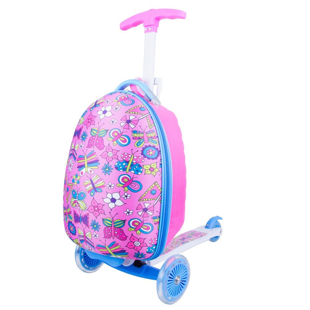 Trotineta pentru copii cu 3 roti si rucsac, roz, WORKER